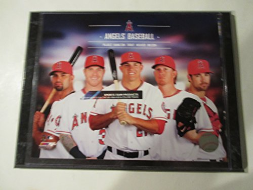 ALBERT PUJOLS 3000 HITS PLUS TROUT - HAMILTON - WEAVER & WILSON ANGELS BASEBALL PHOTO MOUNTED ON A 9