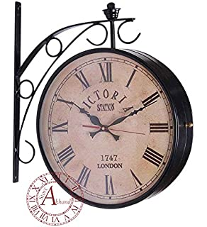 akhandstore 12 inch clock dia antique wall clock victoria metal station clock double side railway clock