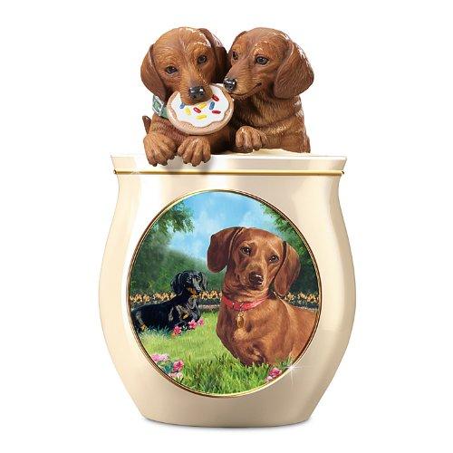 Dachshund Cookie Jar<br>Linda Picken Artwork <br>By The Bradford Exchange<br>6-1/2W x 11H x 6-1/2D Inches