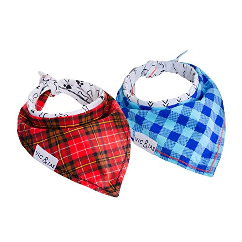 Vic & Jas Pet Bandana Premium Knit Reversible Plaid (2 Pack) - Small Dogs & Cats