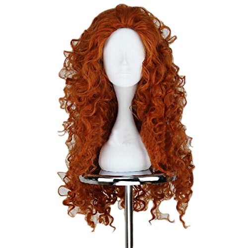 Angelaicos Women's Fluffy Wavy Party Halloween Costume Merida Wig Long -