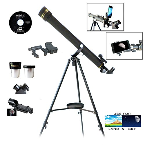 Galileo 800m x 60mm Astronomical and Terrestrial Refractor Telescope Kit with Smartphone Photo Adapter
