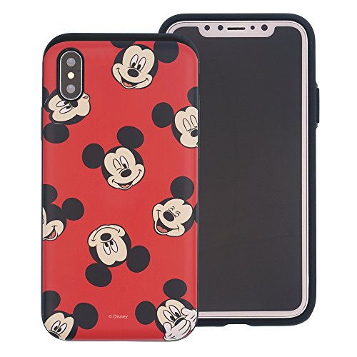 (iPhone XR Case [Heavy Drop Protection] Disney Cute Mickey Mouse Layered Hybrid [TPU + PC] Bumper Cover for [ Apple iPhone XR (6.1inch) ] - Pattern Mickey Mouse)