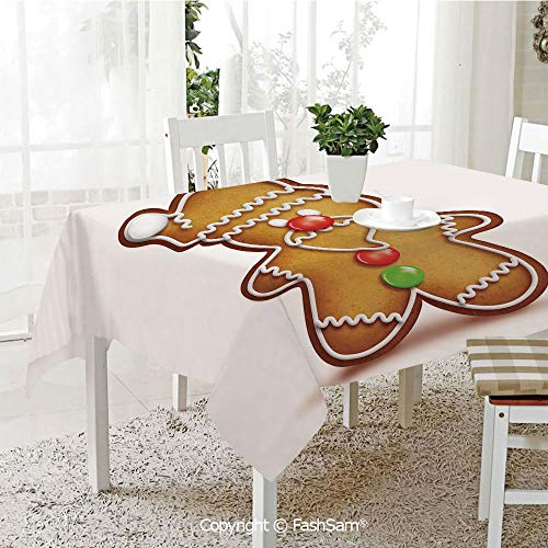 AmaUncle 3D Dinner Print Tablecloths Whimsical Cartoon Santa Gingerbread Man with Bonbon Candies Decorative Resistant Table Toppers (W60 xL84)]()