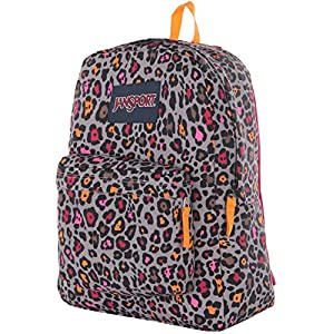 Jansport Superbreak Backpack - Grey Rabbit Lucy Leopard