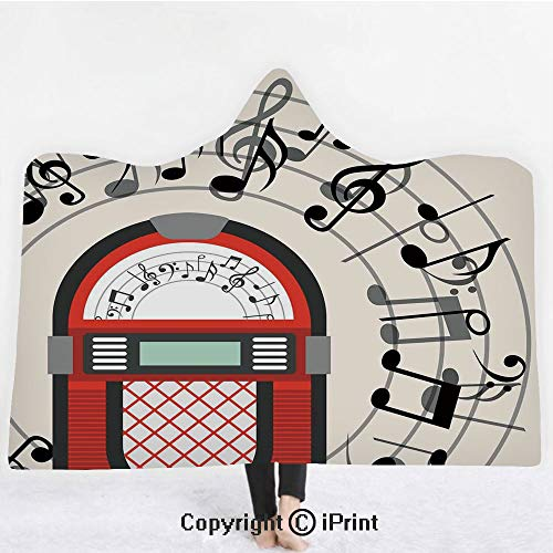 Jukebox 3D Print Soft Hooded Blanket Adult Premium Throw Blanket,Lightweight Microfiber,Cartoon Antique Old Vintage Radio Music Box Party with Notes Artwork,All Season for Adult(60