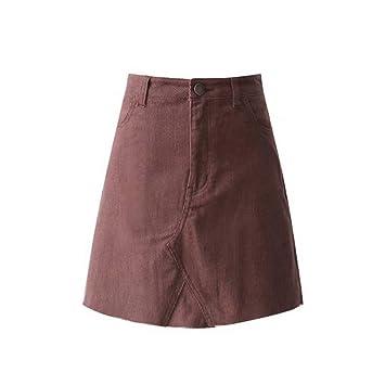 HEHEAB Falda,Caqui Vintage Corduroy A-Line Falda Mujer Moda De ...
