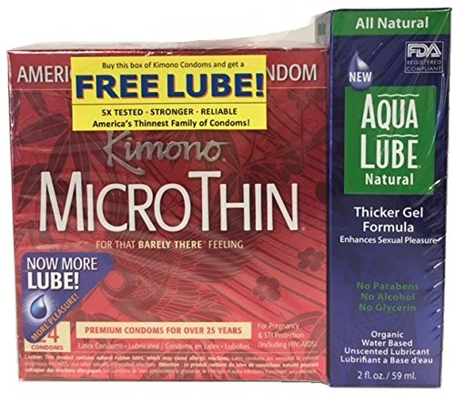 (Kimono Microthin & Free Aqua Lube Natural Thicker Gel, 24 Count)