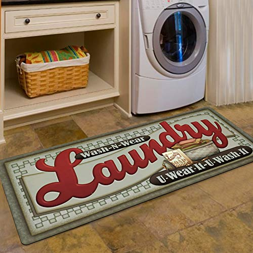 USTIDE Loads of Fun Rug for Laundry Room Nonslip Rubber Backer Mat Floor Runner Durable Carpet Waterproof Kitchen Mats (20''x48'', 1pc) (Rugs Room Living Foam Memory For)