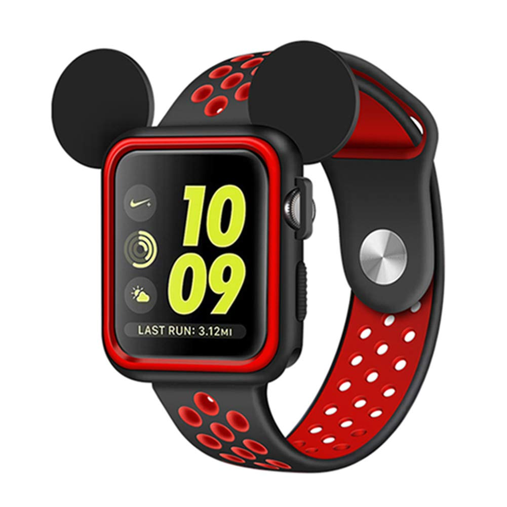 Apple Watch Mickey Mouse Case, Series 3/Series 2/Series 1 Sport/Edition/Nike Soft Silicone Protective Cover with Band for Cartoon Mouse Ears iwatch Case (Black/Red, 38 mm)