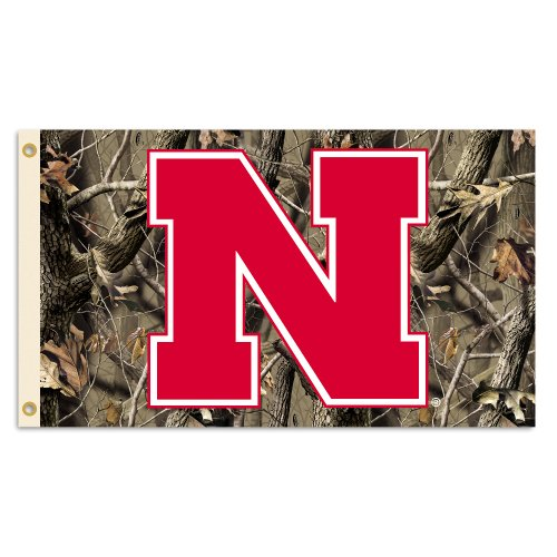 NCAA Nebraska Cornhuskers Flag with Grommets with Realtree Camo Background, 3x5-Feet