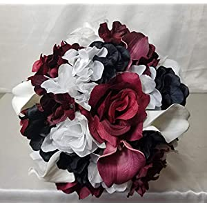 Burgundy Black White Rose Calla Lily Bridal Wedding Bouquet & Boutonniere 29