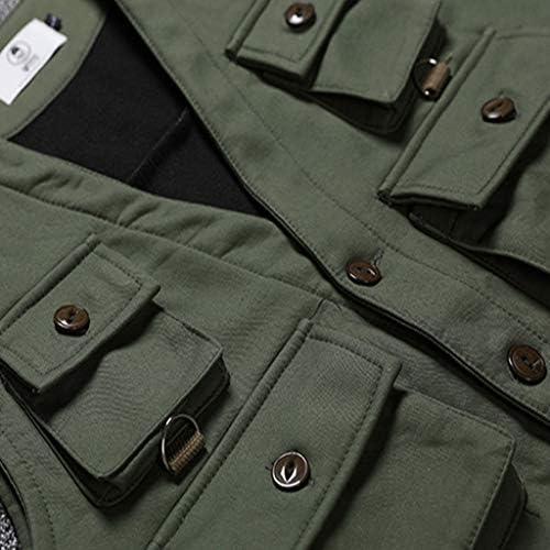 フィッシングベスト 大型ベスト男性人気のロゴヒップホップオーバーオールポケット釣りスーツ脂肪屋外写真ベストプラス肥料増加 (Color : Green, Size : M)