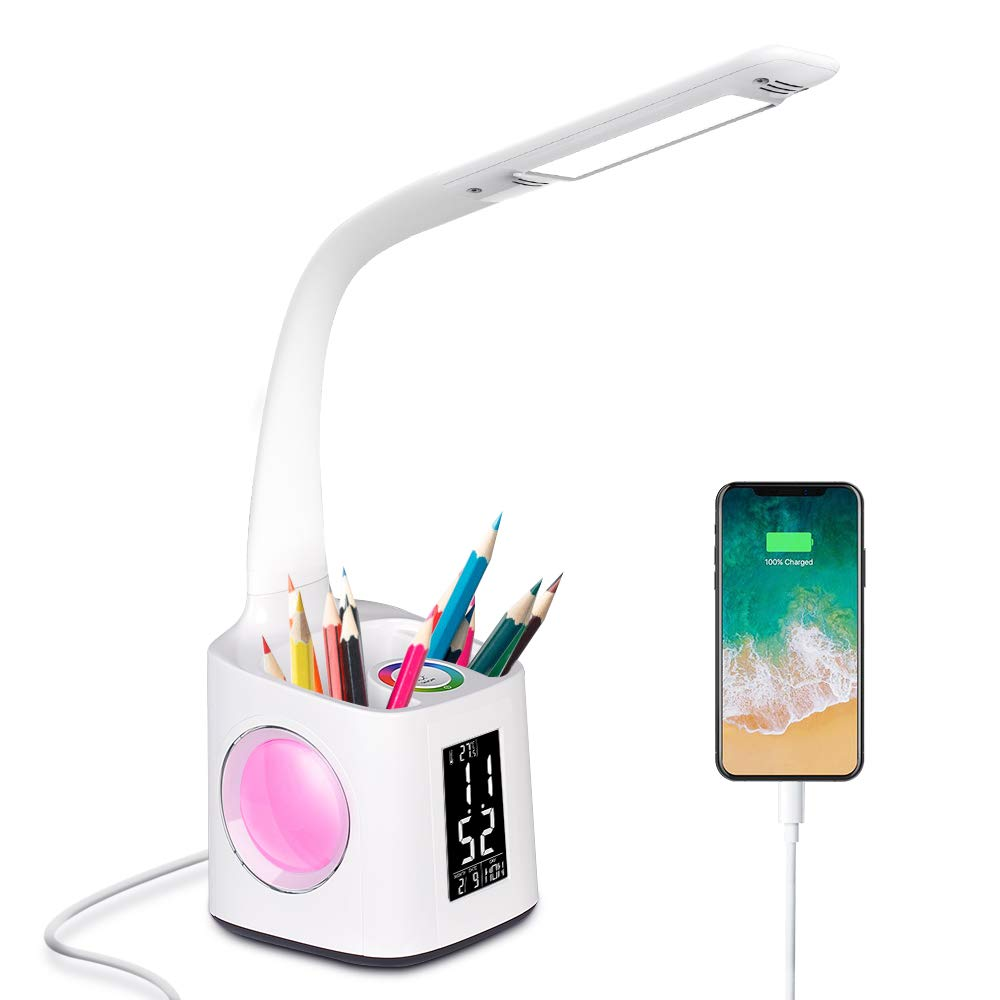 Donewin LED Desk Lamp with USB Charging Port&Pen Holder, Study Light with Clock&Calendar, Study Lamp for Kids/Girls/Boys, Eye-Caring Desk Light for Office/Work/Reading, Colorful Night Light,10W by Donewin