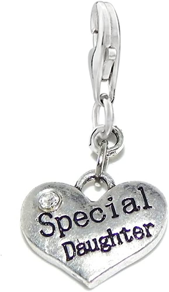 5 x Tibetan Silver /& Rhinestone SPECIAL DAUGHTER HEART 3D Charms Pendants Beads