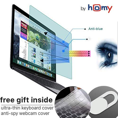 (Homy Anti Blue Light Screen Protector Kit [2-Pack] for MacBook Pro 13 inch 2016-2017-2018-2019 + Keyboard Cover Ultra-Thin TPU + Web Camera Sliding Cover/Eye Protection Kit for A1706 A1989 Touch Bar)