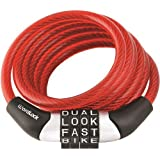 Wordlock CL-455-RD Non-Resettable Combination Cable Lock, 4-Feet, Red