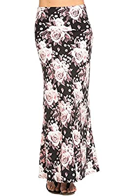 Azules Women's Print Maxi Skirt Ankle Length, Many Color Choices Available