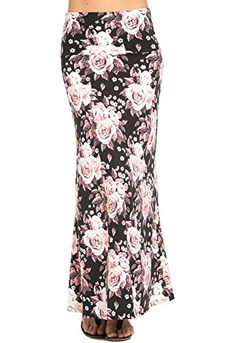 Azules Women's Print Maxi Skirt Ankle Length, X-Large, Rose Duet -
