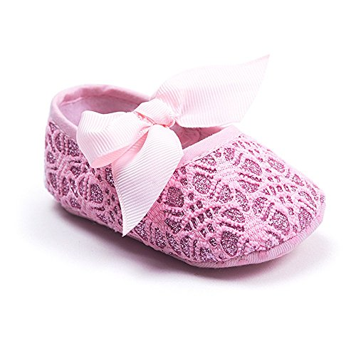 (Kuner Baby Girls Lace Bow Pattern Soft Sole Princess Shoes First Walkers Shoes (11cm(0-6months), Pink))