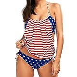 Coper Fashion Women Sexy Push-Up Padded American Flag Bra Bikini Set (Red, L)
