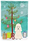 Caroline's Treasures BB4195CHF Merry Christmas Tree Poodle White Canvas House Size Flag, Large, Multicolor
