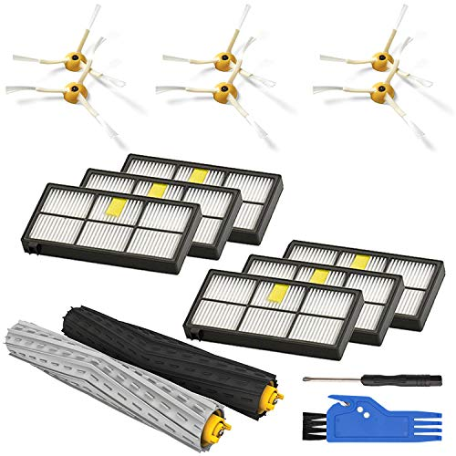 Replenishement Kit for iRobot Roomba 800 900 Series 850 860 861 866 870 880 890 960 980 Vacuum Accessories, Replacement Parts with 1 Set of Multi-Surface Rubber Brushes 6 Filters 6 Side Brushes