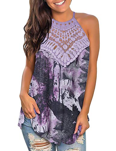 - Womens Summer Tunics Tops Casual Shirts Loose Off Shoulder Sleeveless Soft Lace Hollow Hem Comfy Purple Draw M