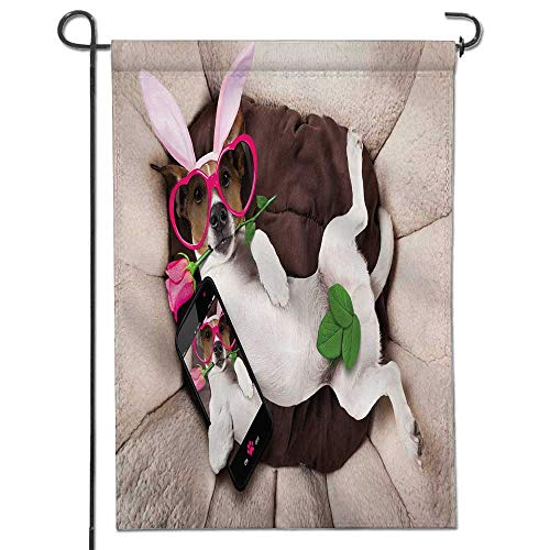 (Jiahonghome Welcome Garden Flag Jack Russell with Easter Bunny Ears Taking a Selfie and a Rose in Mouth Holiday Decoration Double Sided Flag12 x)