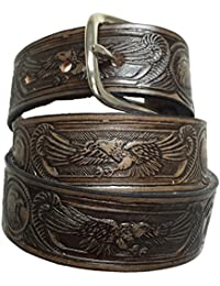 Killer Hats Brown Solid Leather Name Belt with Eagles
