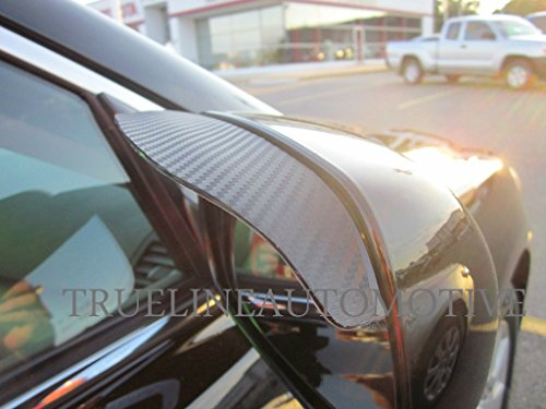 TrueLine Black Carbon Fiber Mirror Visor Rain Guards