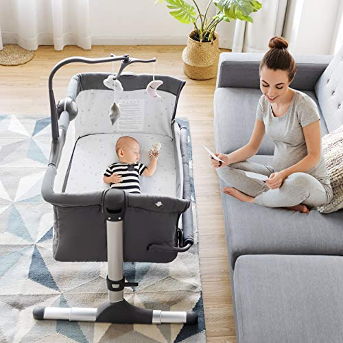 Portable Co-Sleeper with Comfortable Mattress Grey Bassinet for Baby 6 Height Adjustment Easy Folding Baby Bed AMKE Bedside Crib for Newborn Infant