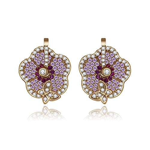 (14K Gold Plated Pave Setting Cubic Zirconia Floral Earrings, Platinum Plated Pave Setting Cubic Zirconia Floral Earrings, Cubic Zirconia Stud Earrings)
