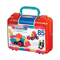 Bristle Blocks Big Value Set with Family and Animal Figurines in a Carry Case with Handle (85 Pieces) by Bristle Blocks