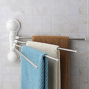 towel rack arricastle 4 bar towel rack with suction cup stainless steel swing towel rack. Black Bedroom Furniture Sets. Home Design Ideas