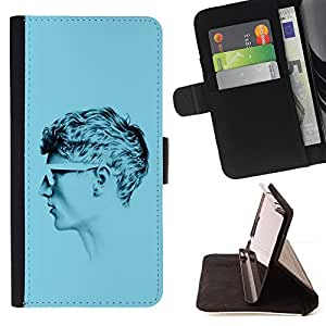 BullDog Case - FOR/Samsung Galaxy A3 / - / PROFILE PORTRAIT MAN BLUE SHORT HAIR ART /- Monedero de cuero de la PU Llevar cubierta de la caja con el ID Credit Card Slots Flip funda de cuer