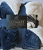 Life Comfort 60 X 70-Inches Ultimate Cozy Soft Sherpa Plush Reversible Throw Blanket, Royal Blue