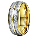 Three Keys 8mm Tungsten Wedding Ring for Men Domed Imitated Meteorite Inlay Gold Mens Meteorite Wedding Band Engagement Ring Promise Ring Size 10