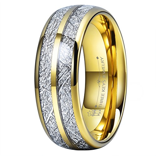 Three Keys 8mm Tungsten Wedding Ring for Men Domed Imitated Meteorite Inlay Gold Mens Meteorite Wedding Band Engagement Ring Promise Ring Size 12.5 ()
