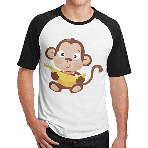 IKOU Cute Monkey Men's Short Sleeve Baseball Raglan T-shirt Black XXL