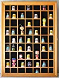 59 Thimble Miniature Display Case Cabinet, glass door, Solid Wood-Oak Finish (TC01- OA)