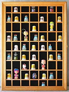 59 Thimble Miniature Display Case Cabinet, Glass Door, Solid Wood Oak  Finish (
