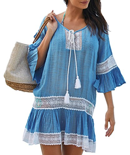 Vestido boho azul encaje