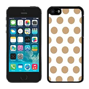 Customizable pc Apple Iphone 5c Black Case White and Brown Dot Soft pc Cell Phone Spot Cover