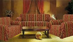 Bednlinens 3 Piece Set Burgundy Stripe Sofa+Loveseat+Chair Slipcover Protector