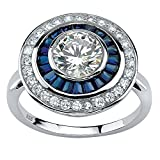 White Cubic Zirconia and Sapphire Platinum over .925 Silver Art Deco-Inspired Circle Ring