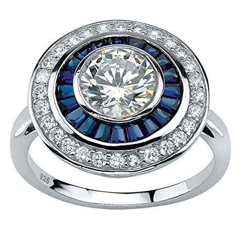 Platinum over Sterling Silver Round Cubic Zirconia and Baguette Blue Sapphire Art Deco Circle Ring Size 6