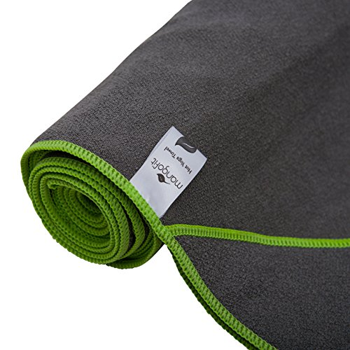 MangoFit #1 Best Hot Yoga Towel With Anchor Fit Corners for your Mat by 100% Hygienic NEW Microfiber Fast Absorbent Skidless, Non Slip, Yoga Towel With Pockets Great for Pilates, Gym, and Beach!