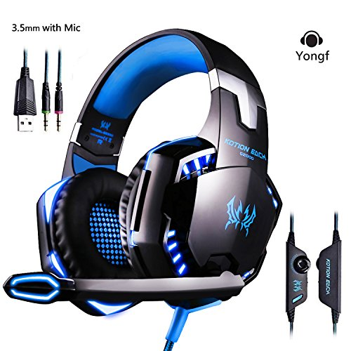 Gaming Headset, Yongf G2000 for PS4 Xbox ONE Bass Over Ear Headphones with Microphone LED Lights and Volume Control for PC, Mac, Laptop, iPad, Computer, Mobile Phones by Yongf