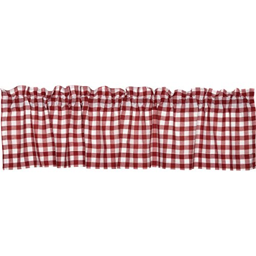 VHC Brands Classic Country Farmhouse Kitchen Window Curtains-Buffalo Check Red Valance, 16